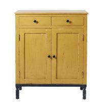 Buffet hoch mit 2 Türen und 2 Schubladen aus massivem Mangoholz, gelb und schwarz Tiago