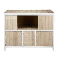 Buffetkast van grenenhout en wit metaal met 3 deuren Taylor