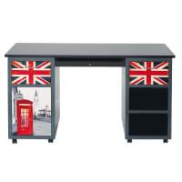 Bureau 2 tiroirs gris imprimé London