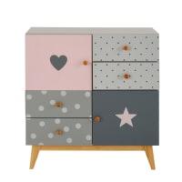 Cabinet 2 portes 4 tiroirs gris et rose April