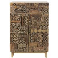 Cabinet 2 portes en manguier massif sculpté Itza