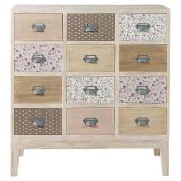 Cabinet commode 12 tiroirs en bois L 75 cm Pimprenelle