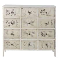 Cabinet de rangement 12 tiroirs imprimé floral ivoire Herboriste