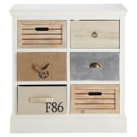 Cabinet de rangement 6 tiroirs blanc Ouessant