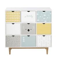 Cabinet de rangement 9 tiroirs blanc à motifs Koala
