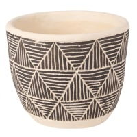 Cache-pot en ciment ivoire et noir motifs ethniques H13