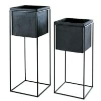 LEO - Cache-pots en fibre de verre et métal noirs H78 (x2)