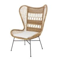 Cadeira de jardim de resina entrançada e tecido cor linho Kabane