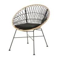 Cadeira de jardim de resina preta com efeito rotim