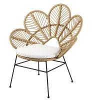Cadeira de jardim entrançada e almofada cor linho Colibri