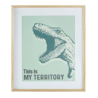 Cadre imprimé T-Rex vert 55x65 Dino