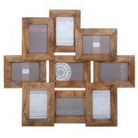 Cadre multivues 9 vues en manguier 58x66 Ayna