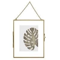 Cadre photo 13x18 à suspendre en verre et métal doré Elie