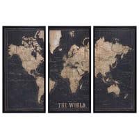 Cadre triptyque carte du monde noir 180x120 Explore