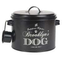 Caja de croquetas para perro de metal negro con estampado blanco Club