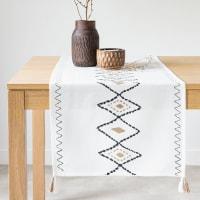 CAMILA - Caminho de mesa em tecido de algodão estampado branco, preto e bege 50x150