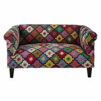 Canapé 2/3 places en tressage kilim multicolore Arlequin