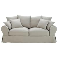 Canapé 3 places en coton gris clair Bastide