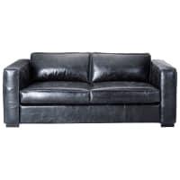 Canapé-lit 3 places en cuir noir Berlin