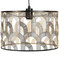DINA - Candeeiro de teto cilíndrico em metal rendilhado preto e dourado
