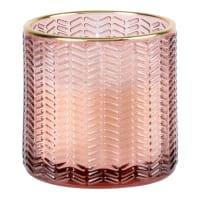 OPIUM - Lotto di 2 - Candela con vasetto in vetro striato rosa e dorato