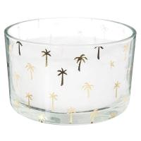Candela in cera bianca con motivi dorati Palm Trees