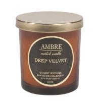 Candela profumata ambra vasetto in vetro con coperchio