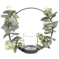 Candelabro de metal preto e coroa de folhas Fiora