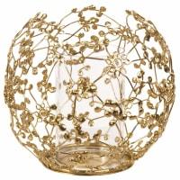 Candeliere in metallo dorato e vetro