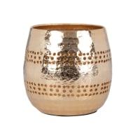 DABA - Candeliere rotondo in metallo cesellato dorato