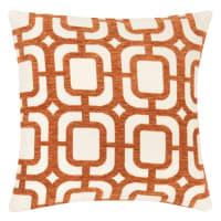 DOSSA - Lote de 2 - Capa de almofada com motivos gráficos em laranja e branco 40x40