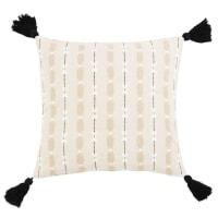 TAVERA - Capa de almofada em algodão cru, bege, branco e preto 40x40