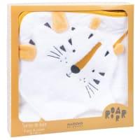 SAMBA - Capa de banho de bebé de algodão branca com cabeça de tigre amarelo-mostarda e preta