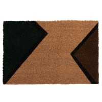 NAKARU - Caramel, brown, green and black triangle-print doormat 60x40cm