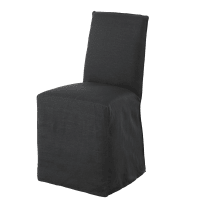 Carbon Grey Washed Linen Chair Cover Diana