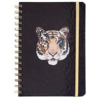 LEO - Carnet de notes à spirales noir à motif tigre multicolore