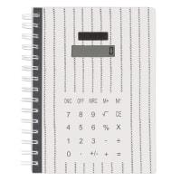 Carnet de notes noir et calculatrice intégrée
