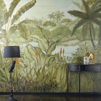 TROPICAL - Carta da parati intessuta stampa paesaggio tropicale 350 cm x 300 cm