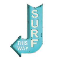 Cartel-flecha de pared de metal azul 50 x 80 cm Surf