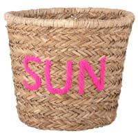 Cesta trenzada de fibra vegetal con palabra de lana rosa Sun