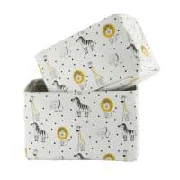 SAVANE - Cestas de almacenaje gris con estampado de animales (x2)