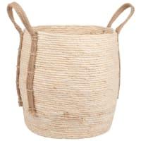 Cestino in fibra vegetale con manici ampi