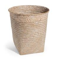 Cestino intrecciato sbiancato in fibra vegetale H 27 cm