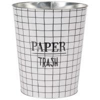 Cestino portacarta con motivi a mattonelle in metallo Trash