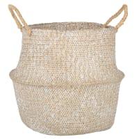 THAI - Cesto in fibra vegetale sbiancata alt. 42 cm