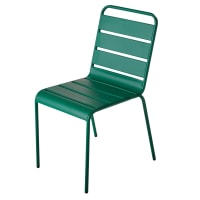 Chaise de jardin en métal vert Batignolles