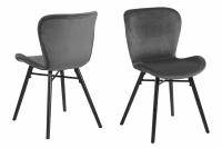 DORI - Lot de 2 - Chaise en velours gris anthracite et pieds en hévéa noir