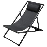 Chaise longue / chilienne pliante en métal gris anthracite Split