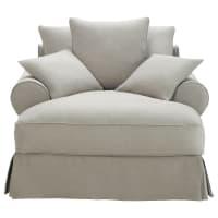 Chaise longue grigio chiaro in cotone Bastide