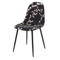 Chaise style scandinave noire motif floral Clyde